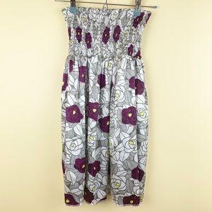 Lost satin rose strapless dress